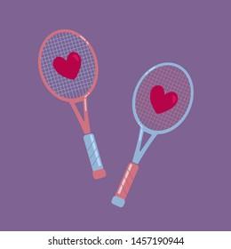 Tennis racquet and balls, vector illustration. Tennis balls. Tennis design over white background vector illustration. Sports, fitness, activity vector design. Flat design. Love.