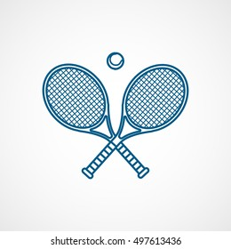 Tennis Racquet Cross Blue Line Icon On White Background