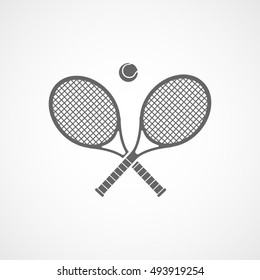 Tennis Racquet Cross Flat Icon On White Background
