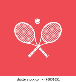 Tennis Racquet Cross Flat Icon On Red Background