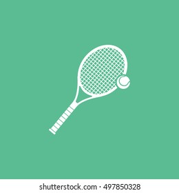 Tennis Racquet Flat Icon On Green Background