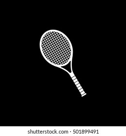 Tennis Racquet Flat Icon On Black Background