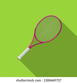 Tennis racquet with long shadow. Flat icons of tennis equipment.