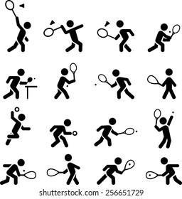 Tennis, racquetball, squash, badminton and ping pong icons