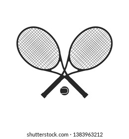 Tennis racquets with ball. Tennis logo with sport equipment.