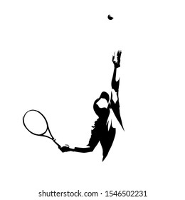 Tennis service, tennis player serving ball, ink drawing vector silhouette