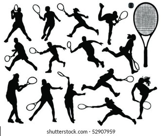 tennis silhouette 6-vector