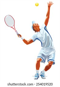 Tennis silhouette on a white background.