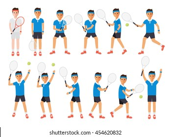 Tennis sport athletes, players playing, training and practicing with tennis racket. Flat design people characters.