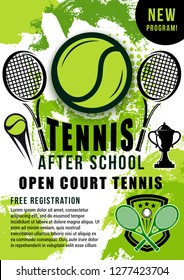 Tennis sport ball, rackets and winner trophy cup halftone poster. Open court tennis school trainings announcement or sporting tournament promotion vector theme