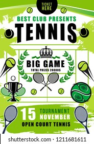 Tennis sport club tournament invitation poster. Vector tennis balls, rackets and winner trophy cup, laurel wreath and crown with green court on background. Sporting competition theme with tennis items