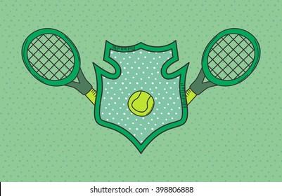 tennis sport doodle icon label theme