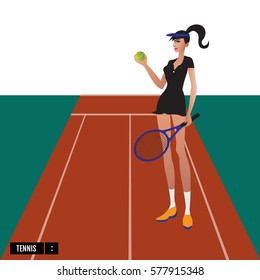 Tennis sport player with racket and ball on court.