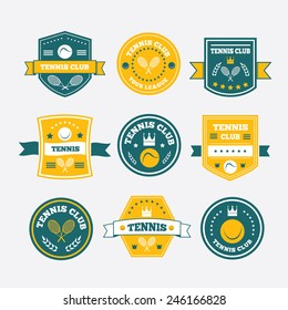 Tennis sporting vintage emblems, labels or logos designs for sport club and tournament with rackets, balls, ribbon banners,stars or shield