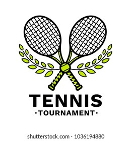 Tennis tournament emblem, illustration, logotype, modern line style, green color, on a white background. Two crossed tennis racquets, with a tennis ball in the center, framed by a laurel wreath.
