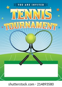 A tennis tournament illustration. Vector EPS 10. EPS file contains transparencies. Room for copy. Text has been converted to outlines: