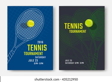 Tennis tournament poster design with racket and ball. Vector template
