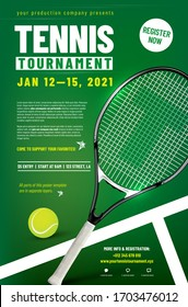 Tennis tournament poster template with racket, ball and sample text in separate layer - vector illustration