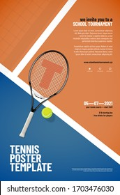 Tennis tournament poster template with racket, ball, playground, net shadow and sample text in separate layer - vector illustration