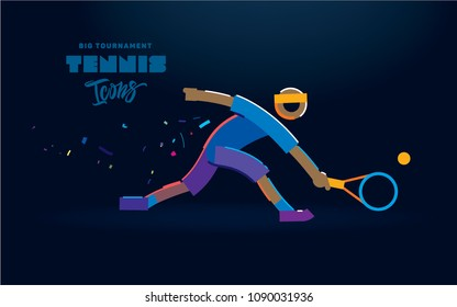 tennis. Vector color line icon