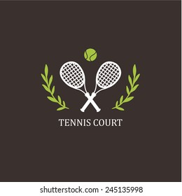 Tennis. Vector logo. Crossed white tennis rackets with a ball on a black background