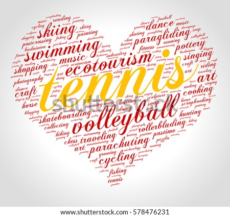 Tennis Word Cloud Heart Italic Font Stock Vector (Royalty