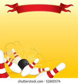 Tenpin Bowling Theme vector Illustrated Background with Copy Space for your text or design
