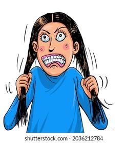 Tension girl pull her hair