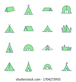 Tent, camp icon set. Simple camp green outline icons sign, vector illustration.
