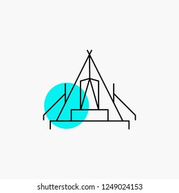 tent, camping, camp, campsite, outdoor Line Icon