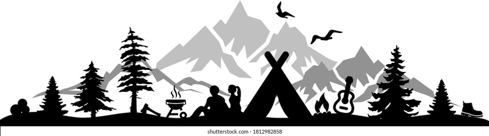 TENT CAMPING Nature Outline Silhouette Vector