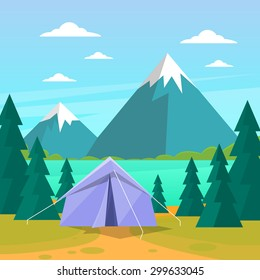 Tent Camping Tourist Forest Mountain Expedition Flat Vector Illustration