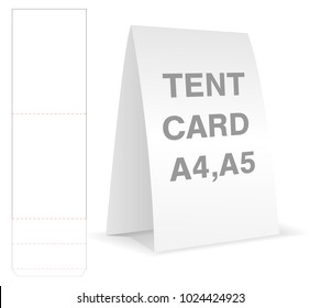 tent card die cut mock up template vector