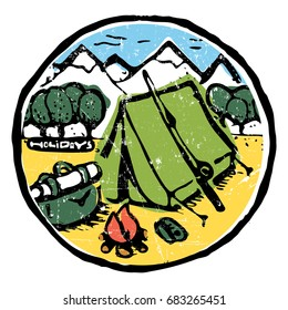 Tent with fire, travling car, bag in the woods. Mountains on background. Colored illustration.