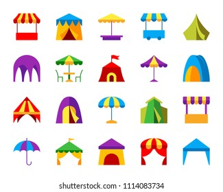Tent flat icons set. Web sign kit of umbrella. Marquee pictogram collection includes canopy, parasol, camp, circus. Simple tent cartoon colorful icon symbol isolated on white. Vector Illustration