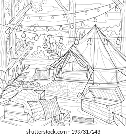 Tent in the forest with lanterns. Camping.Coloring book antistress for children and adults. Illustration isolated on white background.Zen-tangle style. Hand draw