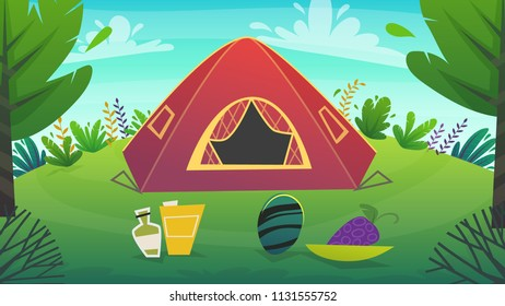tent at forest rest camping at red tent with food picnick . wild tourism weekend at green grass field and trees , nature plants . beautiful serenity cheerful cartoon style , vector background