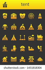 tent icon set. 26 filled tent icons.  Collection Of - Indian, Circus, Carousel, Clown, Travel, Campfire, Tent, Trapeze, Roller coaster, Hiking, Thermo, Penknife, Amusement park