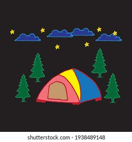 tent icon with tree on night background. pine tree, blue clouds and yellow stars. camping, outdoor activity. hand drawn vector. relax day. doodle art for wallpaper, poster, banner, card, postcard.