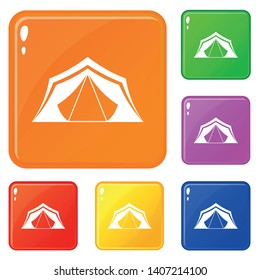 Tent icons set collection vector 6 color isolated on white background