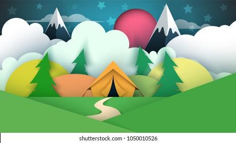Tent illustration. Cartoon paper landscape. Vector eps 10