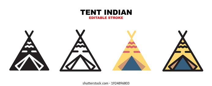 Tent Indian icon set with different styles. Colored vector icons designed in filled, outline, flat, glyph and line colored. Editable stroke style can be used for web, mobile, ui and more.
