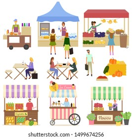 Tent with milk products, vegetables and flowers, coffee and fastfood bus. Women eating outdoor, people buying food, ice-cream and fruit, retail. Festival market. Vector illustration in flat cartoon