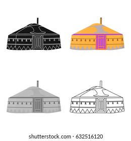 Tent in the Mongolian patterns.Mongolian tent.Housing the ancient Mongols.Mongolia single icon in cartoon style vector symbol stock illustration.