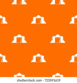 Tent pattern repeat seamless in orange color for any design. Vector geometric illustration