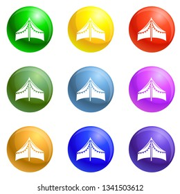 Tent shed icons vector 9 color set isolated on white background for any web design