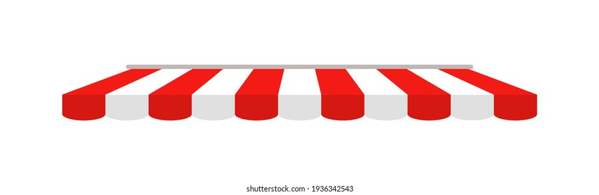 Tent of shop. Awning on cafe. Roof of marketplace. Red-white stripe canopy for store or market. Striped sunshade for restaurant, circus and marquee. Parasol on white background. Vector.
