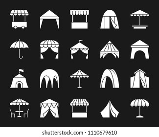 Tent silhouette icons set. Isolated web sign kit of umbrella. Circus monochrome pictogram collectio. Simple white contour symbol. Tent vector Icon shape