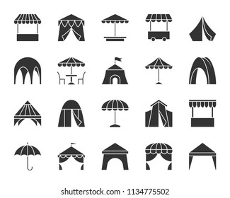 Tent silhouette icons set. Sign kit of umbrella. Awning pictogram collection includes circus, trade cart, fast food sunshade. Simple tent black symbol isolated on white. Vector Icon shape for stamp