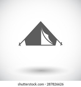Tent. Single flat icon on white background. Vector illustration.